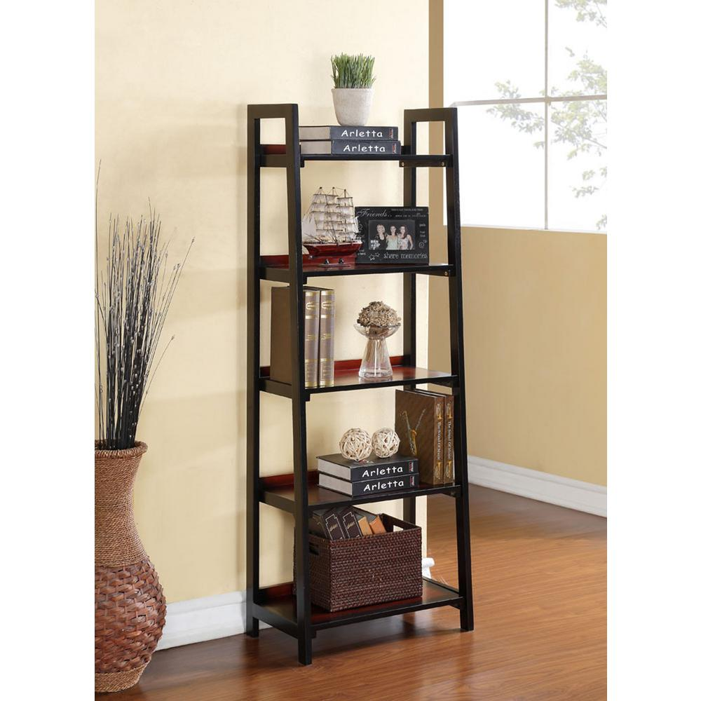 Linon home decor camden black cherry ladder bookcase for Home decorators bookcase