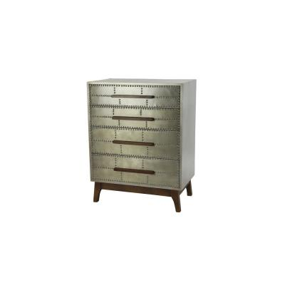 Silver Wood 4-Drawer Cabinet with Studs