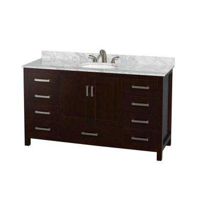 Sheffield 60 in. Vanity in Espresso with Marble Vanity Top in Carrara White