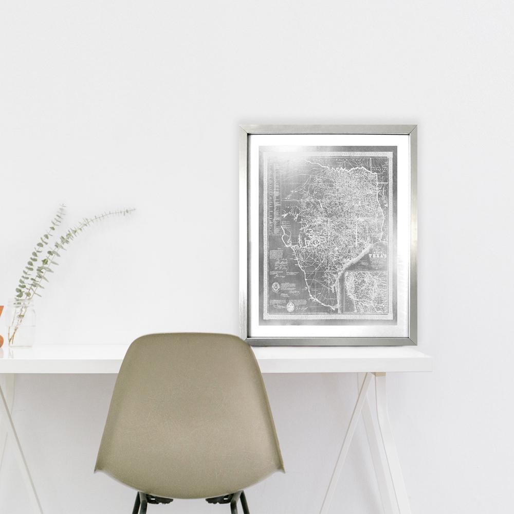 "20 in. x 16 in. ""Texas 1856 Silver"" by Wynwood Studio Framed Printed Wall Art"