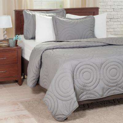 Embossed Silver Polyester Full and Queen Quilt