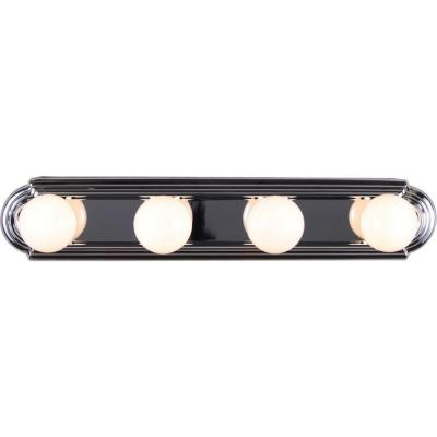 4-Light Indoor Chrome Movie Beauty Makeup Hollywood Bath or Vanity Light Bar Wall Mount or Wall Sconce