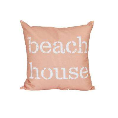 16 in. x 16 in. Coral Beach House Word Print Pillow