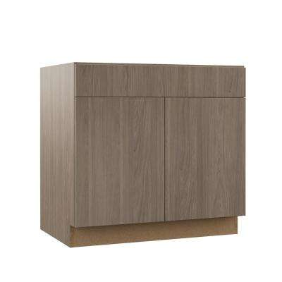 Edgeley Assembled 36x34.5x23.75 in. Sink Base Kitchen Cabinet in Driftwood