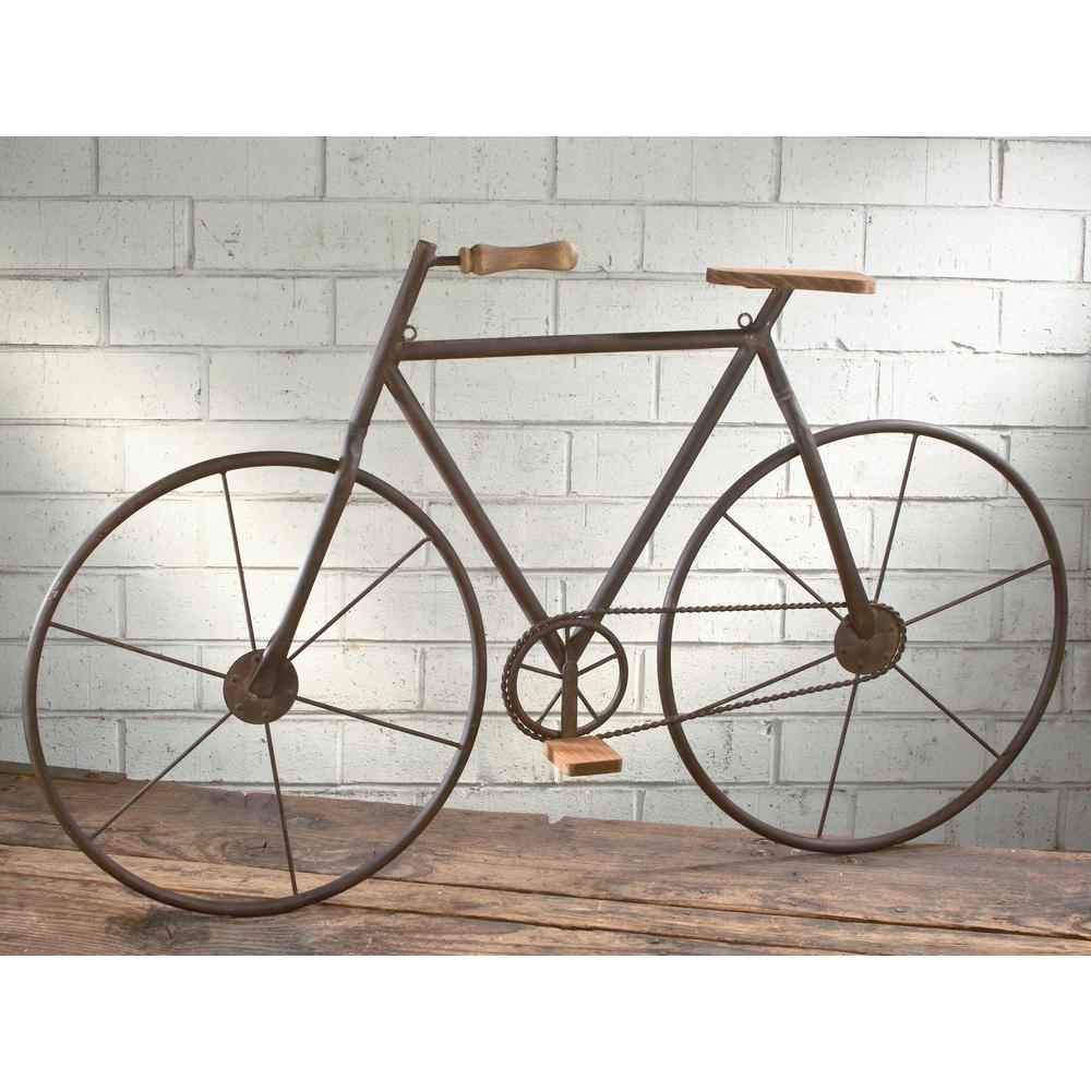 Captivating Metal With Wood Brown Finish Bicycle Wall Art