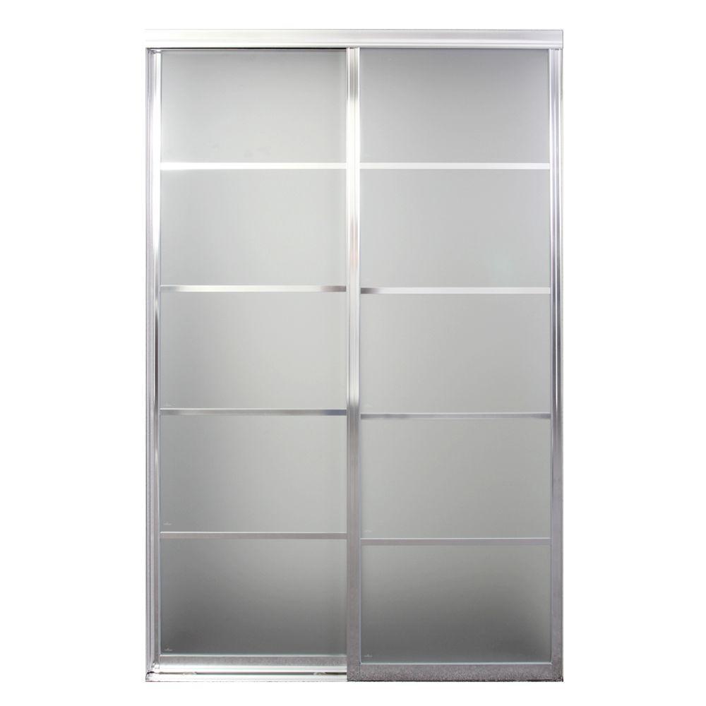 Silhouette 5-Lite Mystique Glass Bright Clear Aluminum Interior Sliding Door