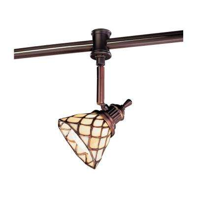 120-Volt Antique Bronze Flexible Track Head with Tiffany Shade