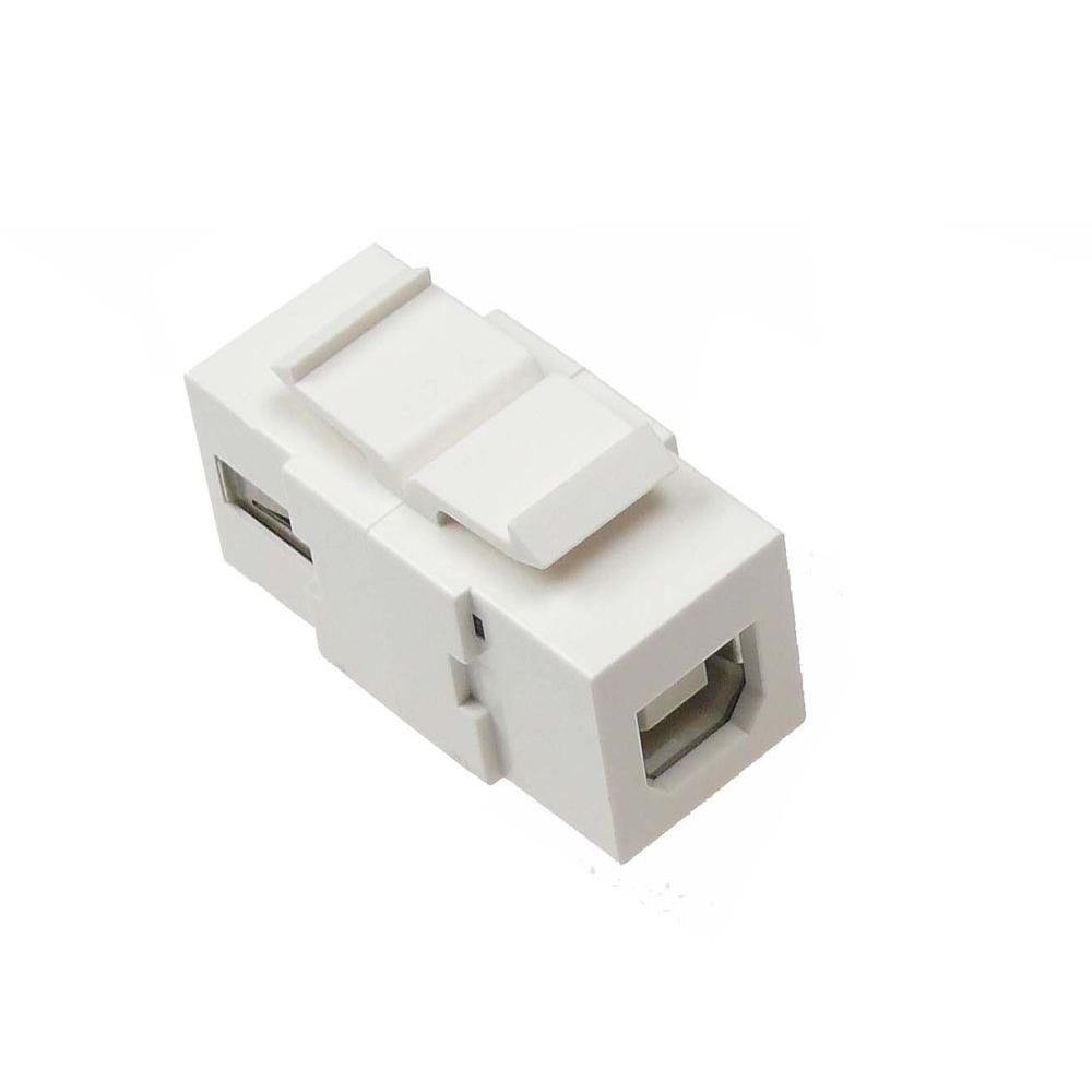 USB 2.0 Type A/B Snap-In Keystone Coupler Jack - White