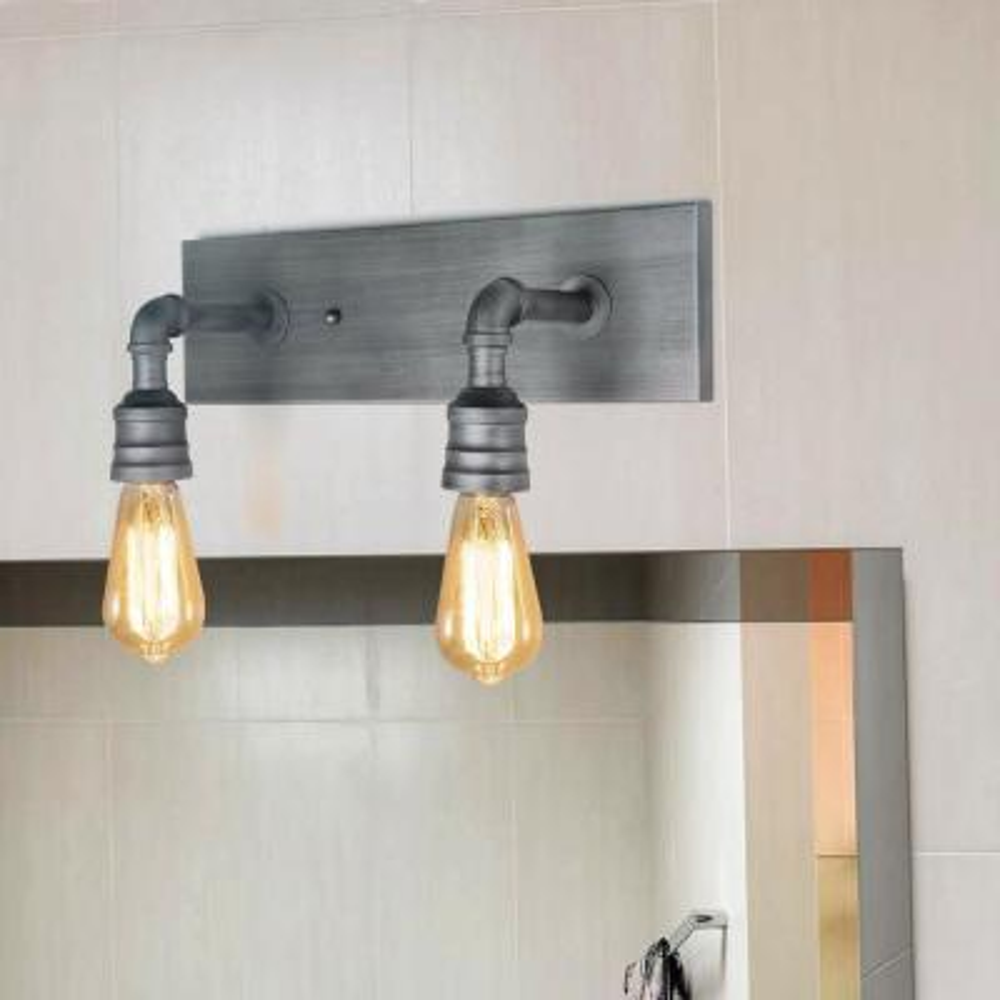 2-Light Aged Silver Bath Lighting Vanity Light