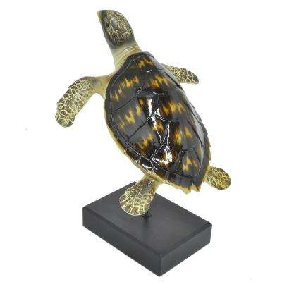 12 in. Three Hands Turtle On Base Figurine In Black