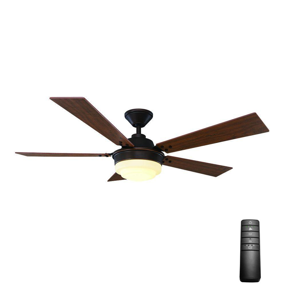 Home Decorators Collection Emswell 52 In Led Indoor Mediterranean Bronze Ceiling Fan With Light