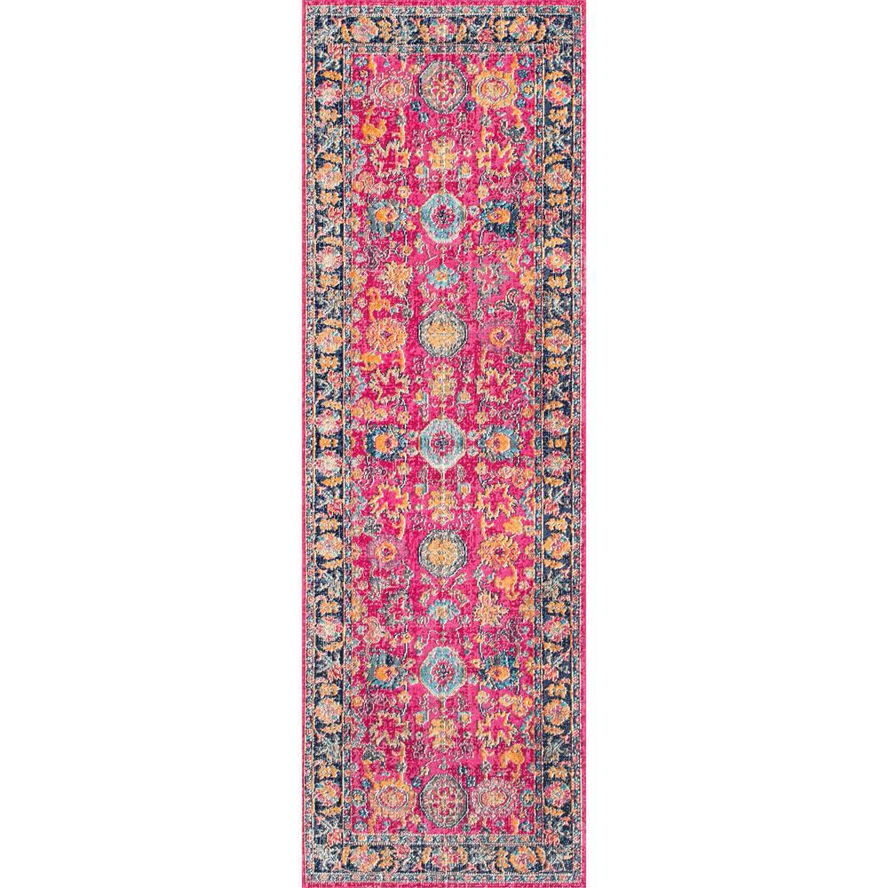Gardena Oriental Persian Pink 3 ft. x 8 ft. Runner