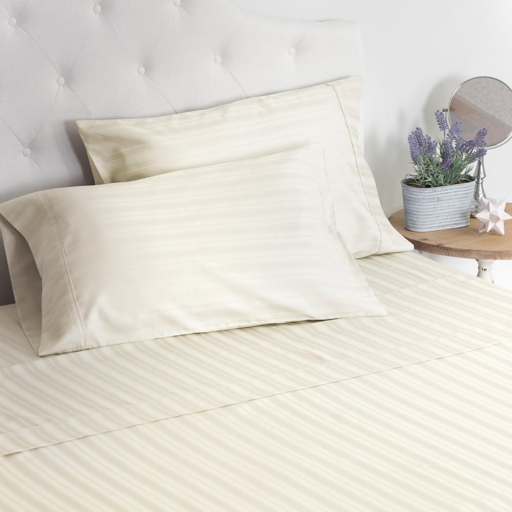 The LuxuryDamask Stripe Sateen Ivory Twin Sheet Set