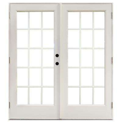 60 in. x 80 in. Fiberglass Smooth White Left-Hand Outswing Hinged Patio Door with 15-Lite SDL