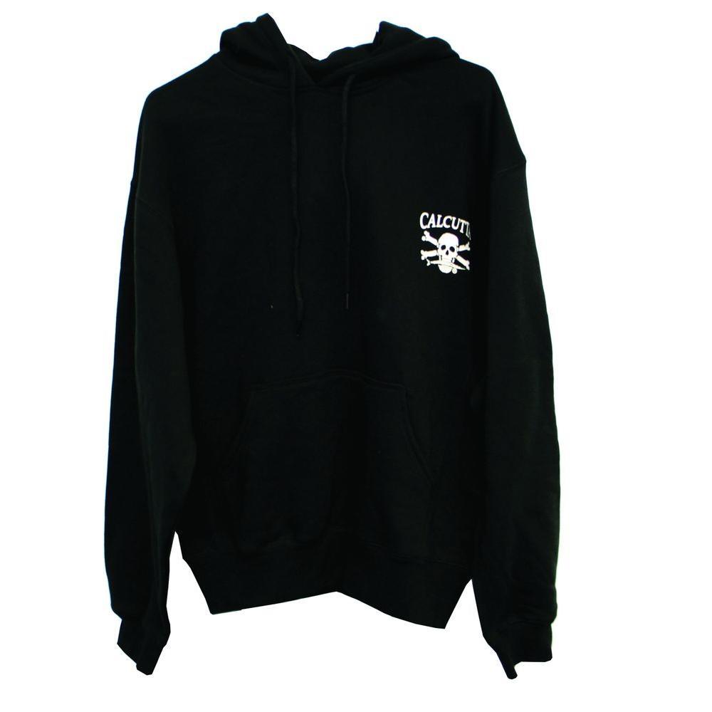 Men's Medium Two Pocket Hooded Pull Over Sweatshirt in Black