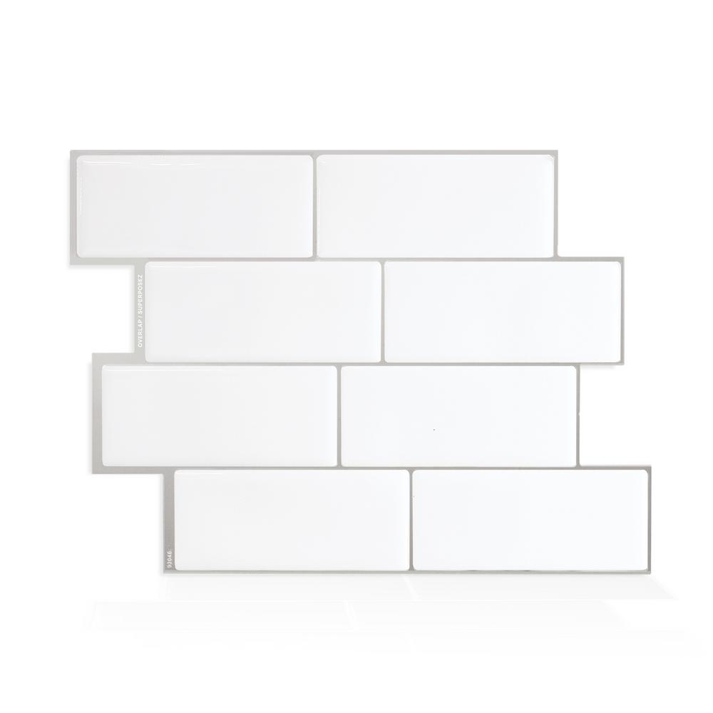 SmartTiles Smart Tiles Metro Campagnola 11.56 in. W x 8.38 in. H White Peel and Stick Decorative Mosaic Wall Tile Backsplash (4-Pack)