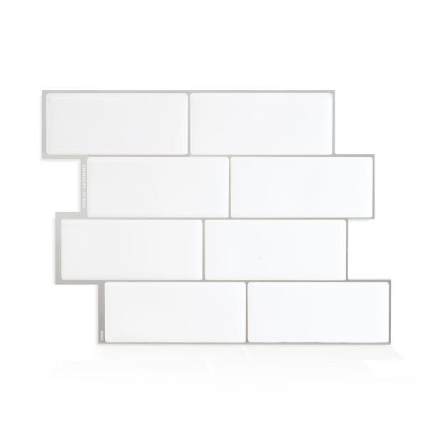 Smart Tiles Metro Campagnola 11.56 in. W x 8.38 in. H White Peel and Stick Decorative Mosaic Wall Tile Backsplash (4-Pack)