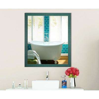 21.5 in. x 21.5 in. Country Cottage Aqua Framed Square Vanity Mirror