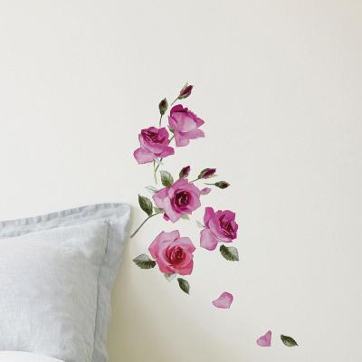 24.6 in. x 12 in. Purple Roses Wall Decal Set
