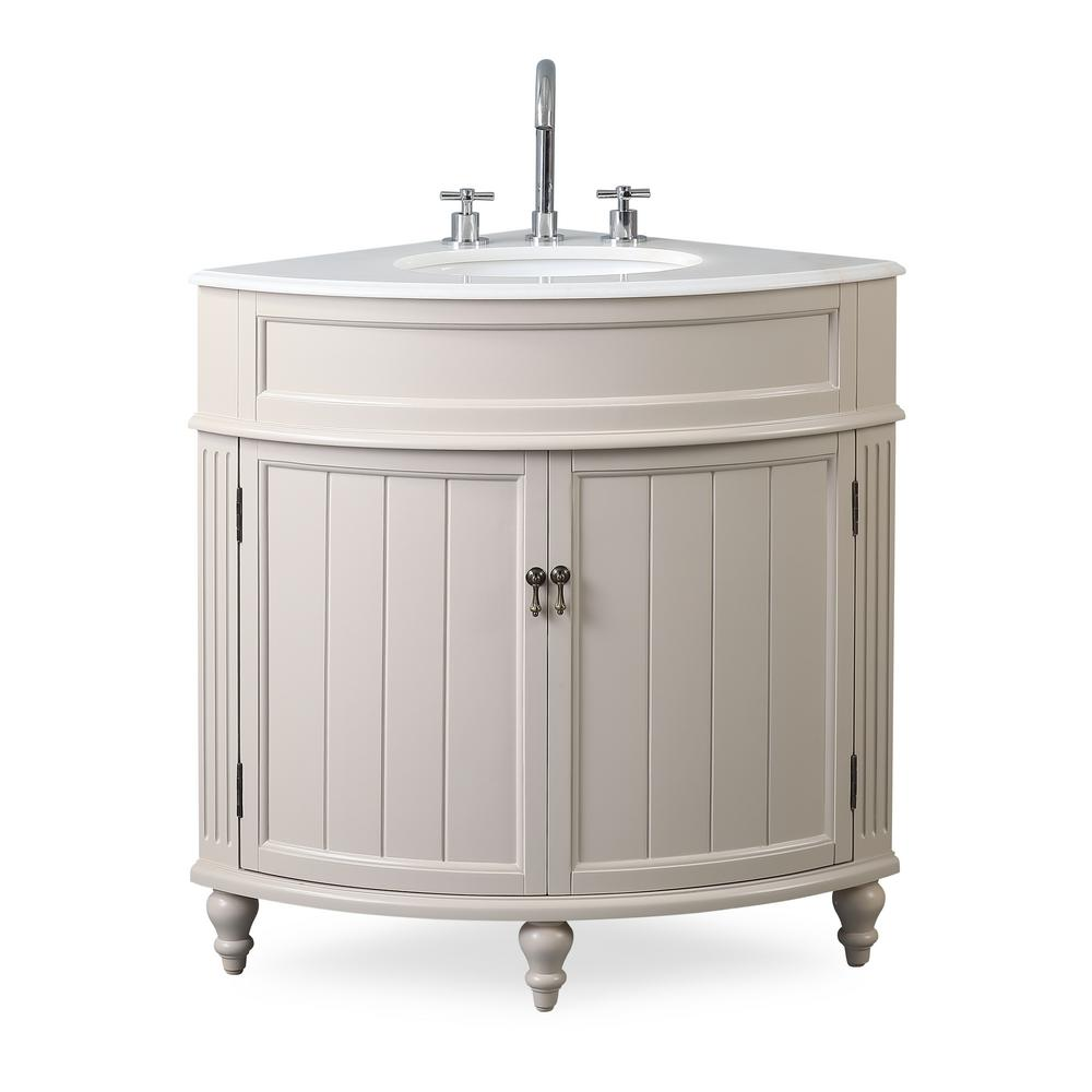 Thomasville 24 in. W x 24 in. D x 34.5 in. H in. Bath Vanity in Taupe with Marble Vanity Top in White with White Basin