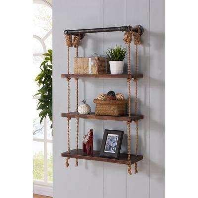 24 in. Silver Brannon Modern Walnut Wood Floating Wall Shelf