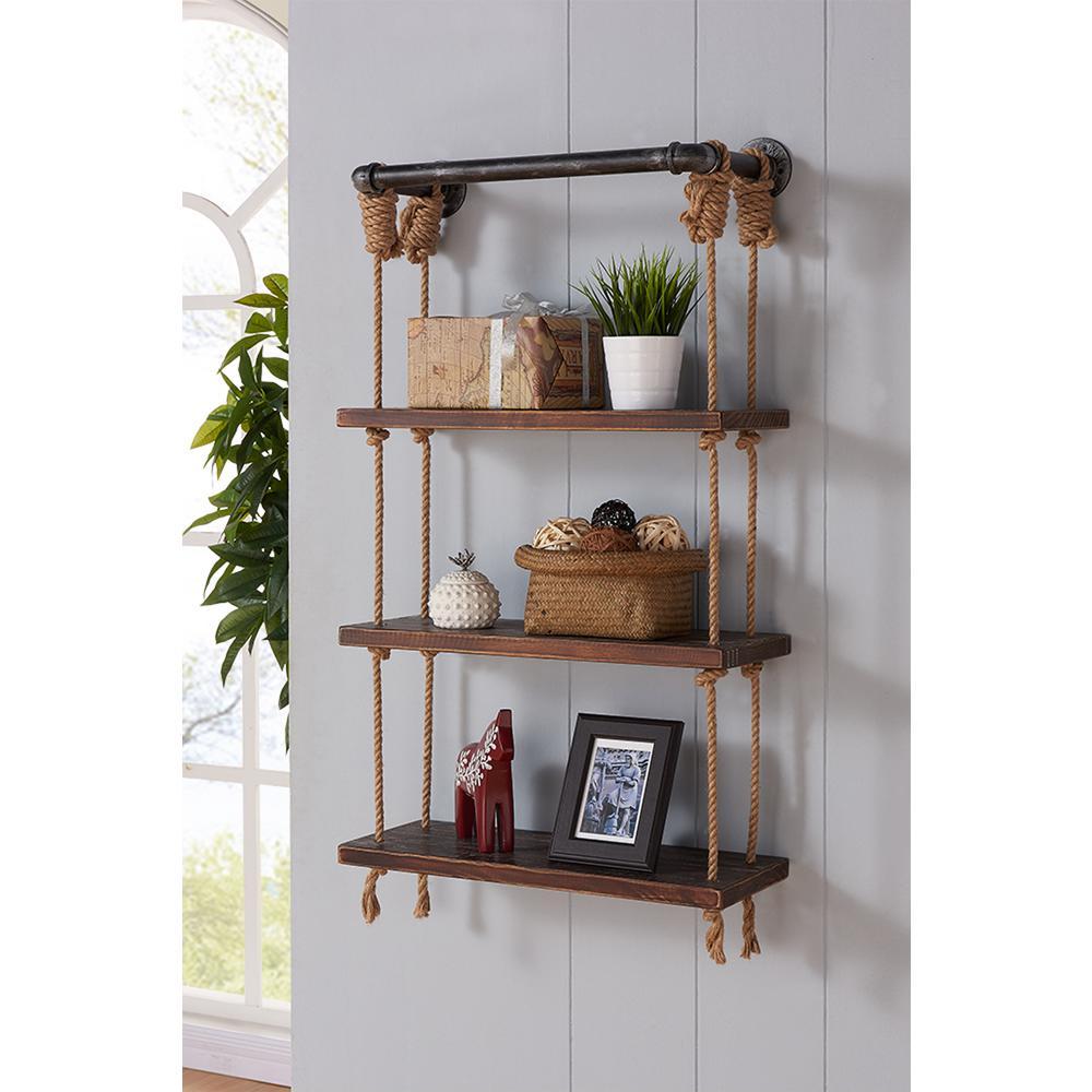 armen living 24 in silver brannon modern walnut wood floating wall rh homedepot com silver wall shelf brackets brushed silver wall shelves