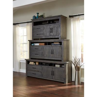 Nest 54 in. Distressed Dark Gray Wood TV Stand with 2 Drawer Fits TVs Up to 60 in. with Storage Doors