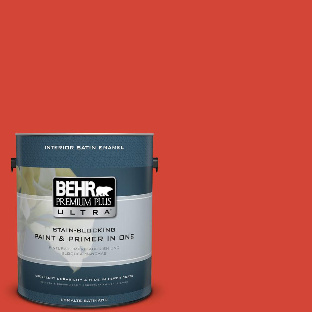 1 gal. #S-G-190 Red Hot Satin Enamel Interior Paint and Primer