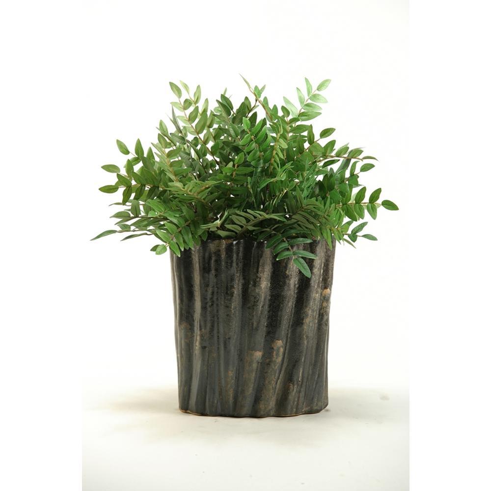 Indoor 19 in. Green Locust Spray in Oval Ceramic Planter