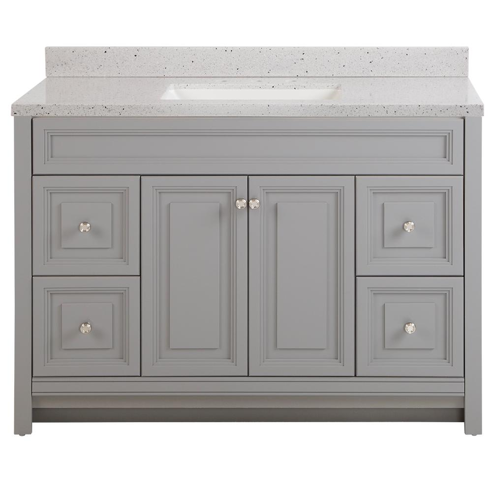 Home Decorators Collection Brinkhill 49 in. W x 22 in. D Bath Vanity in Sterling Gray with Solid Surface Vanity Top in Silver Ash with White Sink