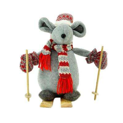 adventurous skiing mouse christmas tabletop decoration