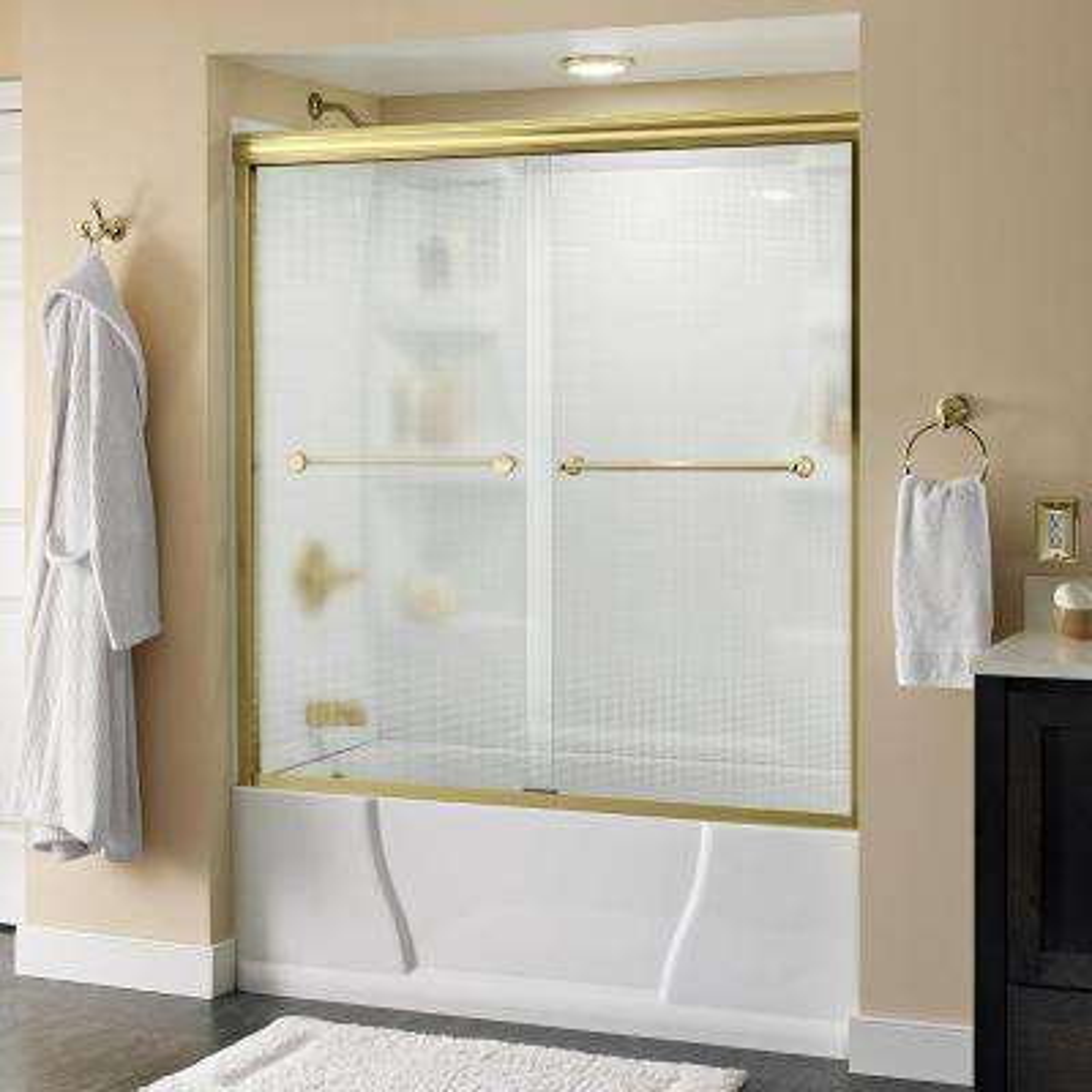 Crestfield 60 in. x 58-1/8 in. Semi-Frameless Sliding Bathtub Door in Brass with Droplet Glass