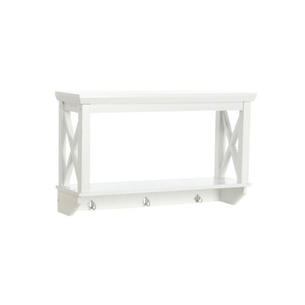 X-Frame 7-17/25 in. L x 15-7/20 in. H x 25-49/50 in. W Wall-Mount MDF 2-Shelf in White