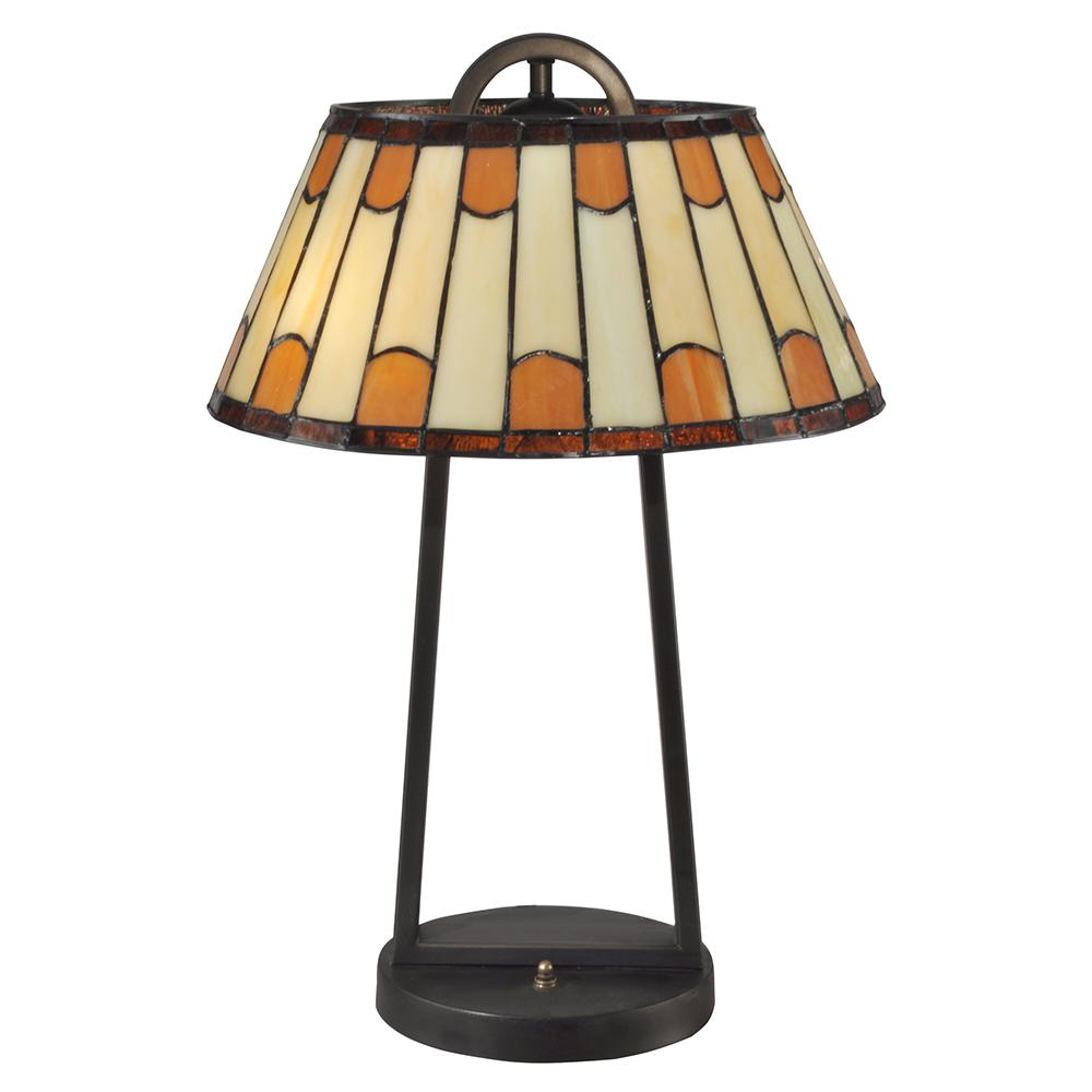Dale Tiffany 21 in. Dark Bronze Wedgewood Table Lamp with Tiffany Art Glass Shade