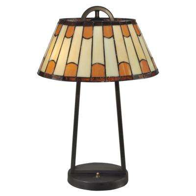 21 in. Dark Bronze Wedgewood Table Lamp with Tiffany Art Glass Shade