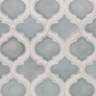 Oracle Arabesque Arctic Blue Marble And 10-1/4 in. x 11-7/8 in. x 10mm Glazed Ceramic Mosaic Tile