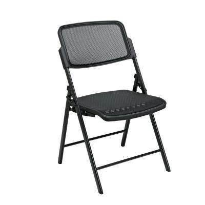Black Plastic Seat Stackable Folding Chair (Set of 2)
