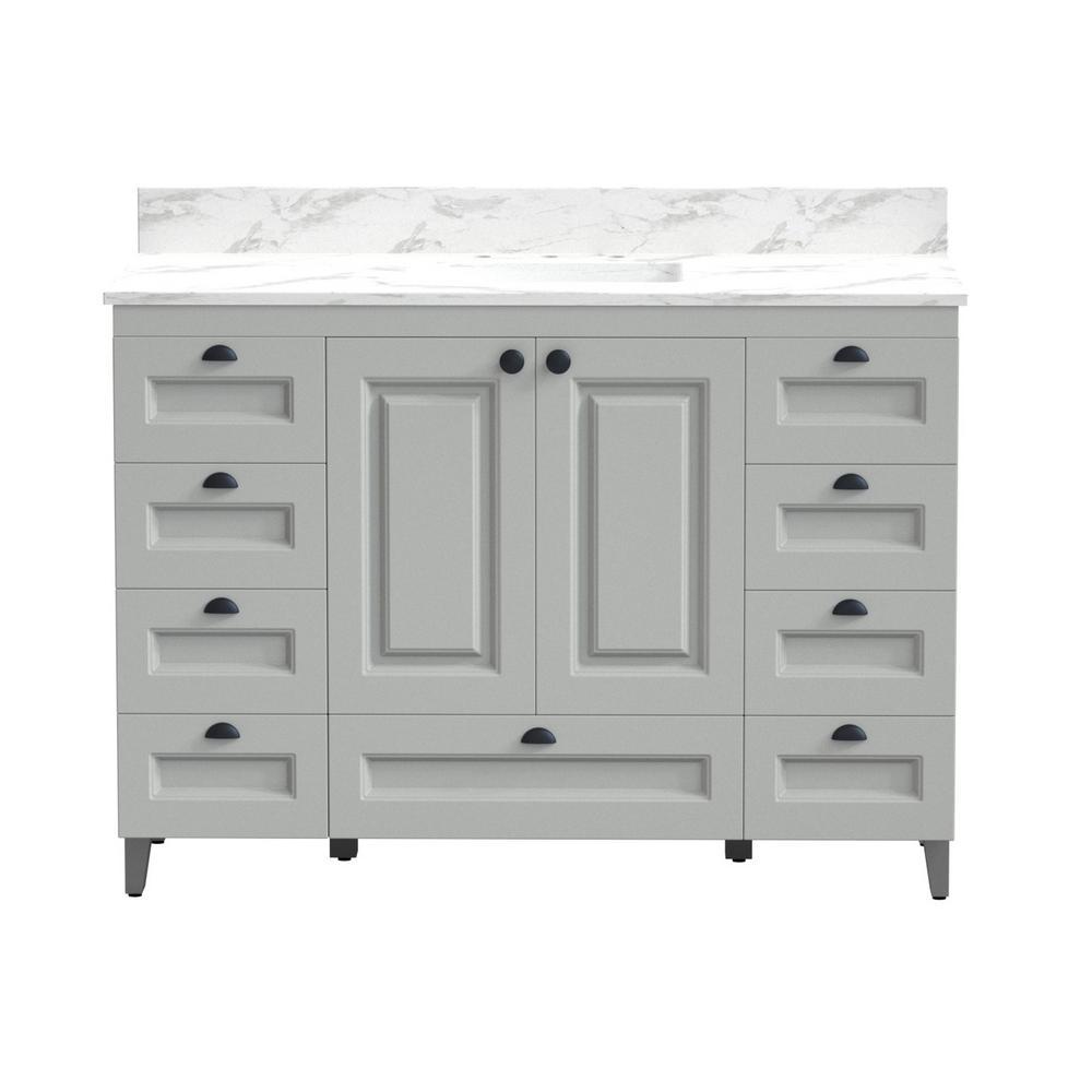 48 in. Metal Bathroom Vanity in Gray with Carrera Engineered Marble Vanity Top with White Sink