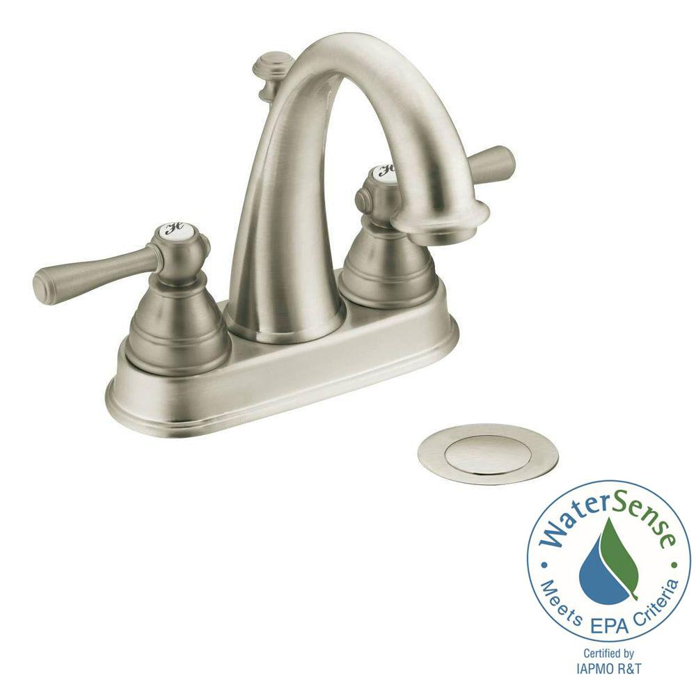 Nice MOEN Kingsley 4 In. Centerset 2 Handle High Arc Bathroom Faucet In Brushed