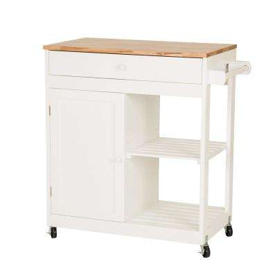 34.45 in. H White Rubber Wooden Kitchen island Rolling Storage Table Cart