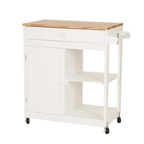 Glitzhome 34.45 in. H White Rubber Wooden Kitchen island Rolling Storage