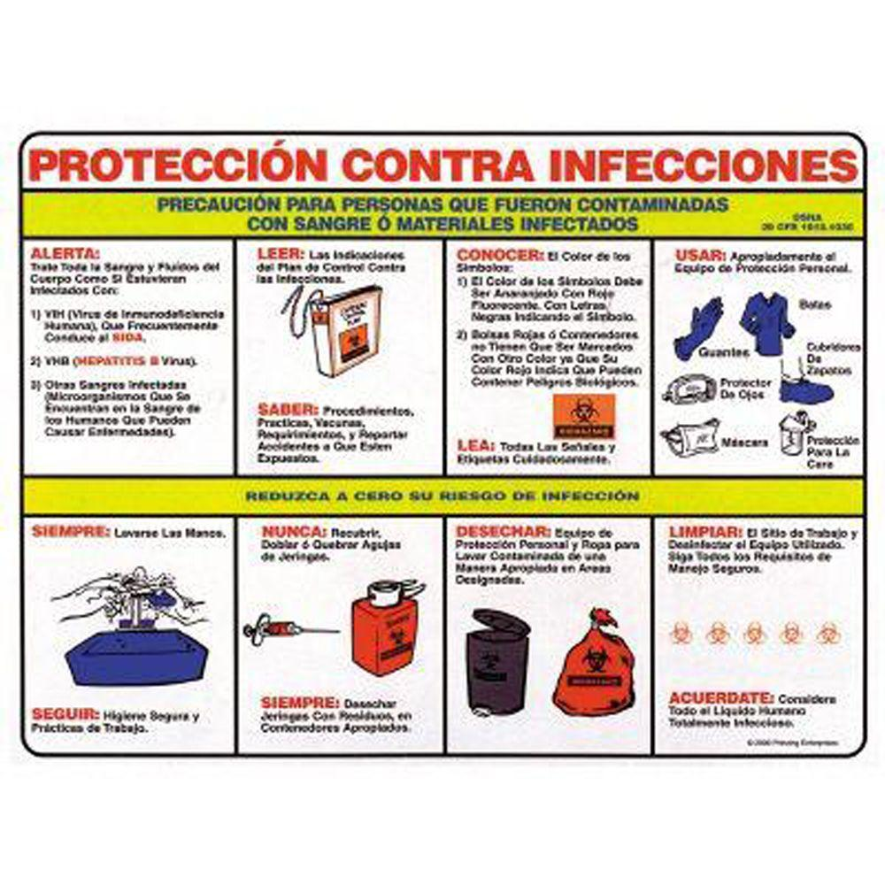 18 in. x 24 in. Laminated Paper Blood-Borne Pathogens Spanish Poster