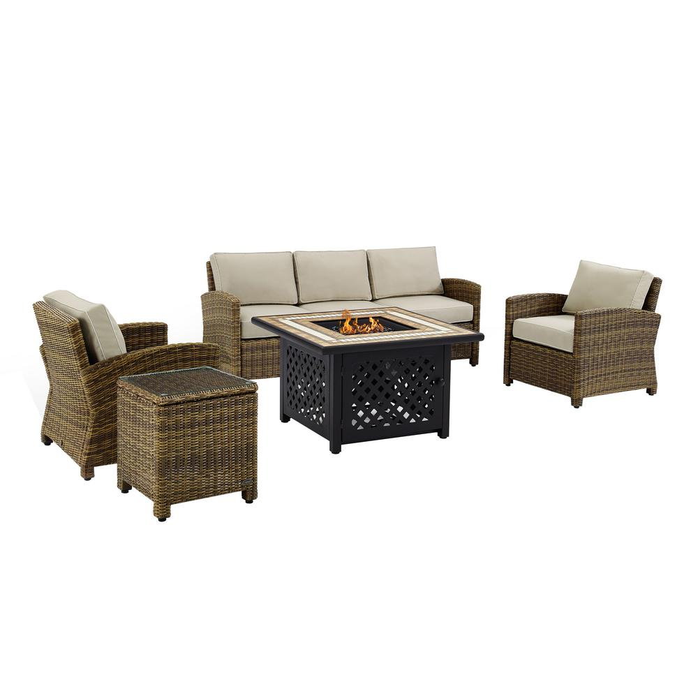 Crosley Bradenton 5 Piece Wicker Patio Fire Pit Set Conversation Set With Sand Cushions Ko70163 Sa The Home Depot