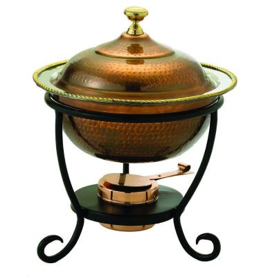 3 qt. 12 in. x 15 in. Round Antique Copper over Stainless Steel Chafing Dish