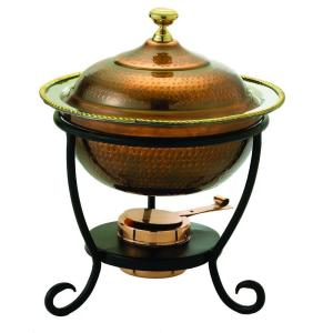 Old Dutch 3 qt. 12 inch x 15 inch Round Antique Copper over Stainless Steel Chafing Dish by Old Dutch