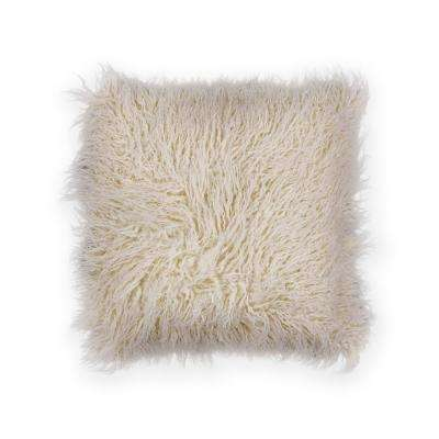 Ivory Shaggy 20 in. x 20 in. Decorative Pillow