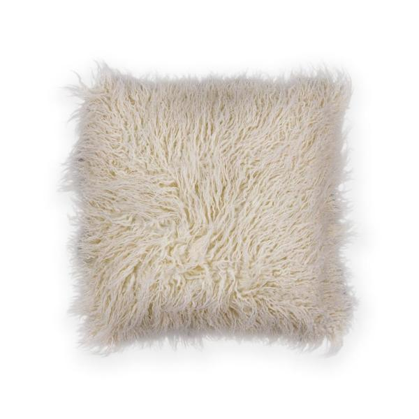 Kas Rugs Ivory Shaggy 20 in. x 20 in. Decorative Pillow