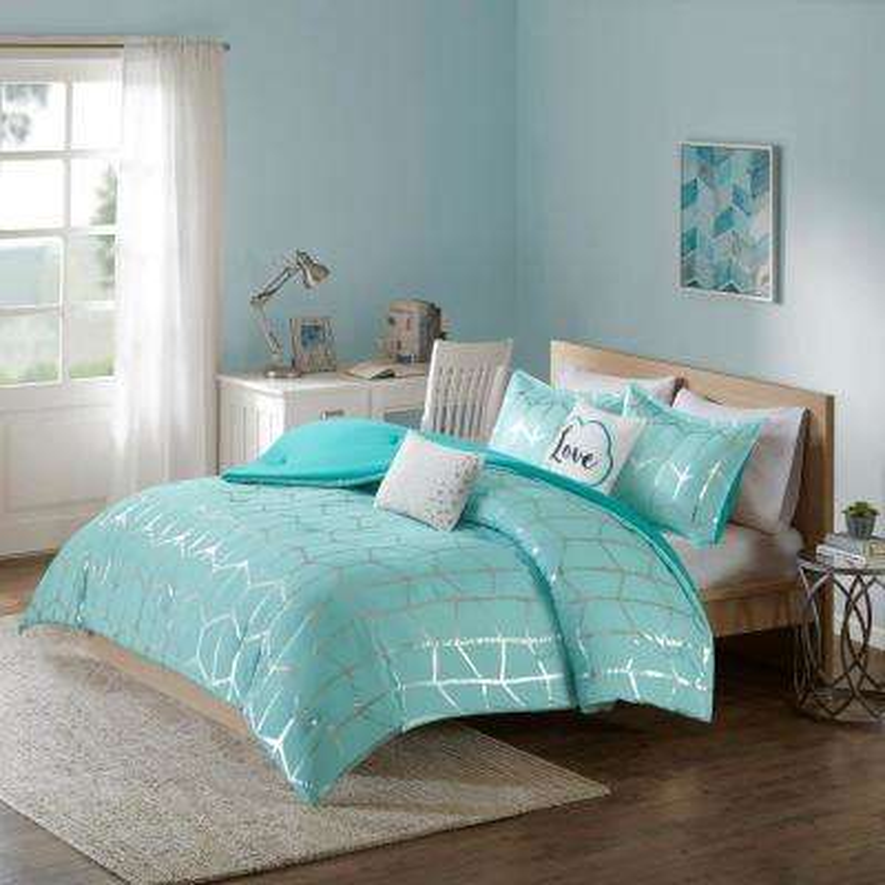 Khloe 5-Piece Aqua/Silver Full/Queen Geometric Comforter Set