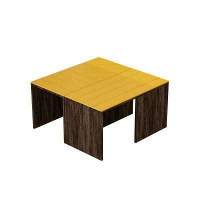 Cameron Dark Brown and Mustard Modern Coffee Table