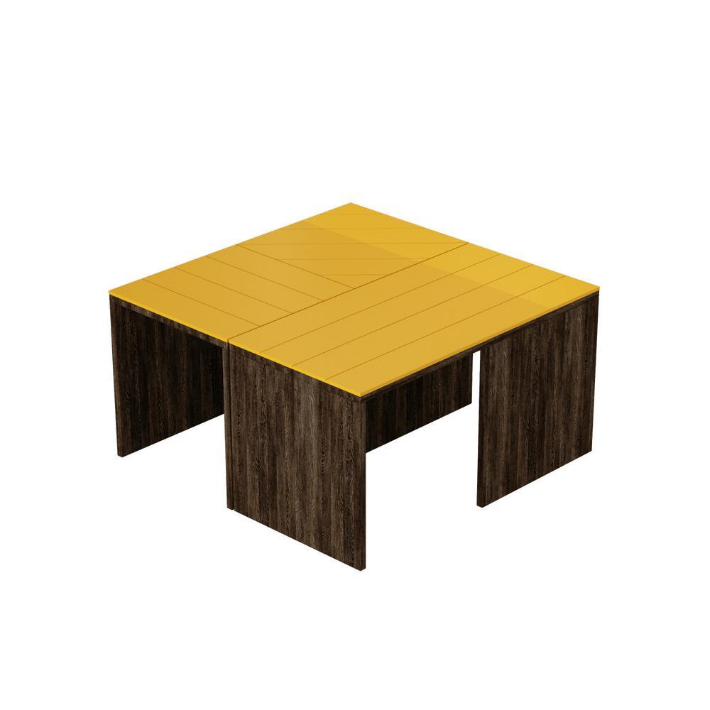 Ada Home Decor Cameron Dark Brown and Mustard Modern Coffee Table